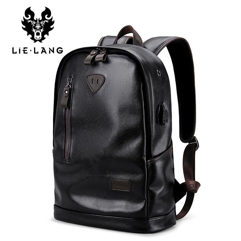 LIELANG Brand Men Backpack Leather Male Functional bags Men Waterproof backpack PU big capacity Men Bag School Bags For Teenager