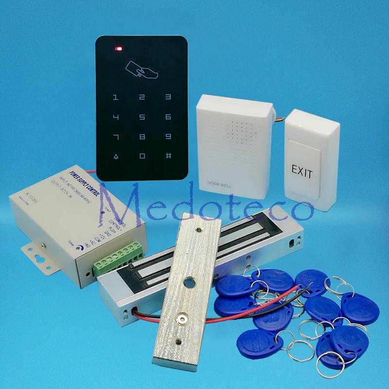 Completo 125 Khz RFID tarjeta puerta Control DE ACCESO sistema em Control DE ACCESO LER + 350lbs cerradura magnética + fuente de alimentación