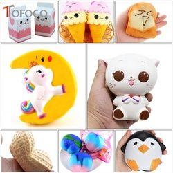 TOFOCO 11 Jenis Lambat Naik Cat/Unicorn/Makanan Empuk Jumbo Mainan Kawaii Squishies Squish Antistress Lucu Squeeze Toy untuk Anak-anak PU