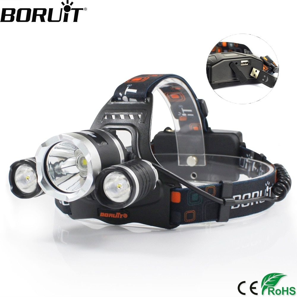 BORUiT RJ-5000 XML-T6 R2 Headlight 4-Mode Headlamp Power Bank Head Torch Hunting Camping <font><b>Flashlight</b></font> 18650 Battery Light