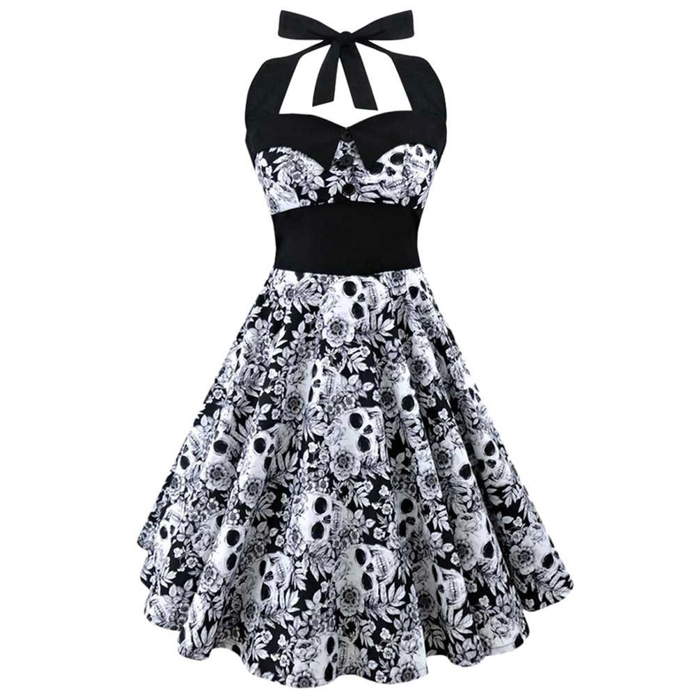 Offre spéciale licou robe d'été femmes 2018 sans manches imprimé Floral femme élégant Vintage robes rétro Rockabilly bal robe de soirée