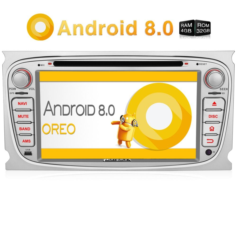 Pumpkin2 Din 7 Android 8.0 Auto DVD Player GPS Navigation Qcta-Core 4G RAM Auto Stereo Für Ford focus/Mondeo Wifi 4G OBD2 Steuergerät