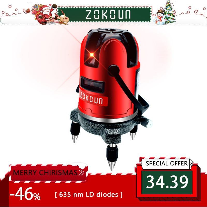 EU plug red 5 lines 6 points <font><b>self</b></font>-leveling 360 rotary cross line laser level tilt slash and detector outdoor mode available