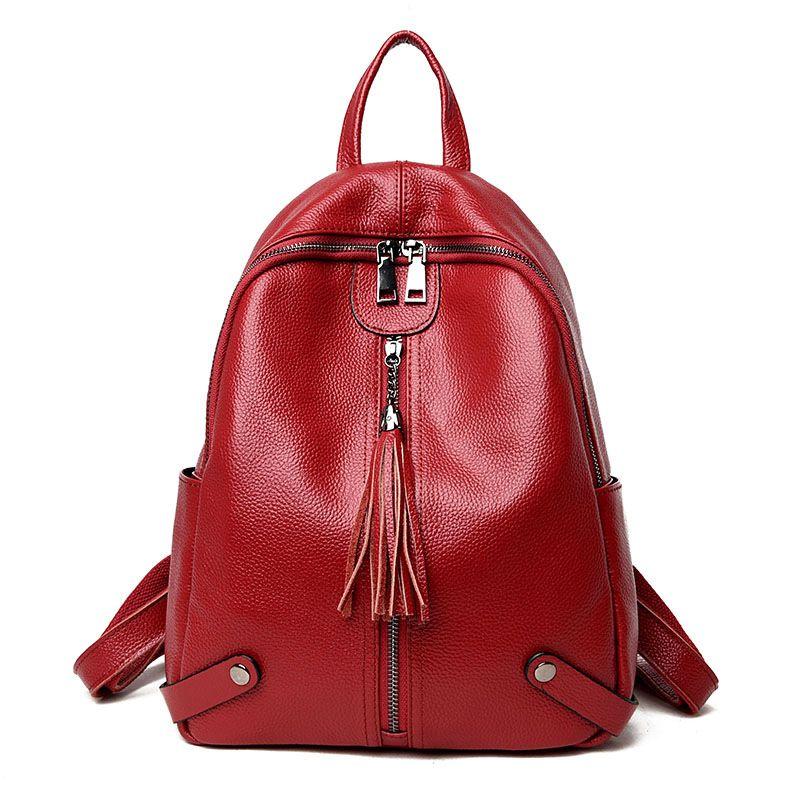 Shoulder bag women's head layer leather soft leather bag 2018 new stylish versatile Korean travel backpack