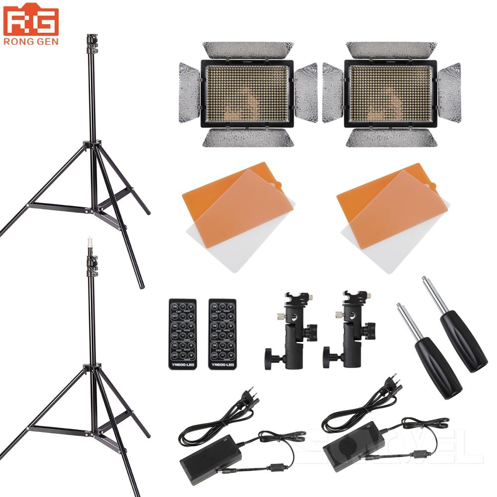 YONGNUO KIT YN600L CRI95 LED Video Light Panel with AC Power Adapter Adjustable 3200K-5500K YN-600L LED Studio Light