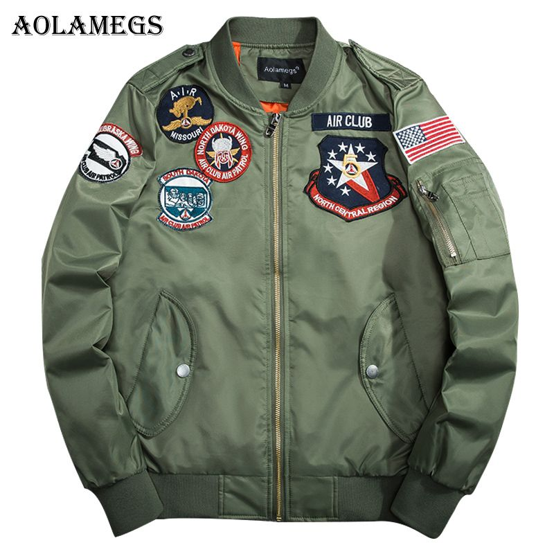 Aolamegs Bomber Jacket Men Bee Embroidery Thin Pilot Men's Jacket Hip Hop Fashion Outwear Autumn Men Coat Bomb Baseball Jackets
