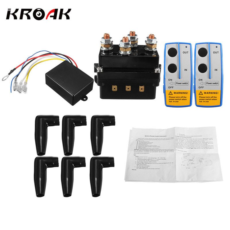 KROAK Universal Solenoid Twin Wireless Remote Control Controller Recovery 4x4 12V 500Amp HD Contactor Winch Control