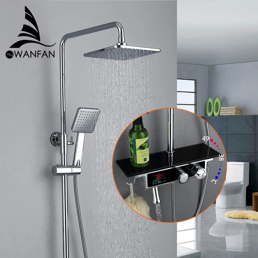 1SET Digital Temperature Display Bath Shower Faucets Set Bathroom Mixer Shower Bathtub Tap Rainfall Shower Wall Mixer Tap 877017