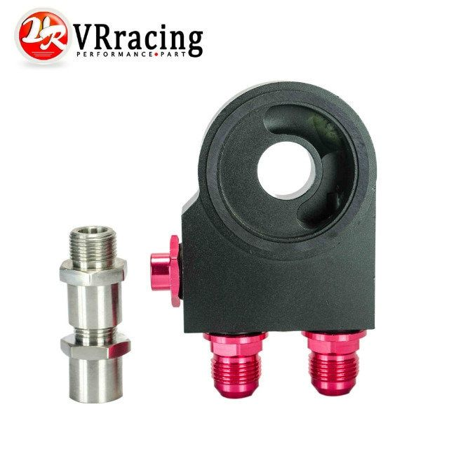 VR RACING - Oil Filter Sandwich Adaptor With Thermostat AN10 fitting M20*1.5 And 3/4-16 Oil Sandwich Adapter VR5673BK