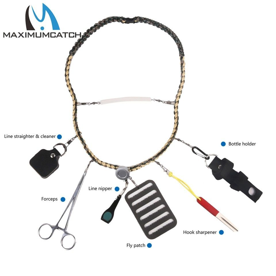 Maximumcatch Fly Fishing Lanyard W/Fishing Forceps Line Cleaner Nipper Patch Holder Tools