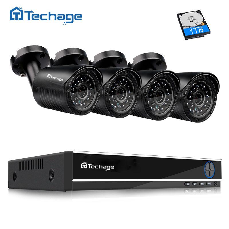 Techage 4CH <font><b>1080P</b></font> HDMI Output DVR AHD CCTV System 4PCS 720P 1.0MP Outdoor Camera P2P Video Home Security Surveillance Kit