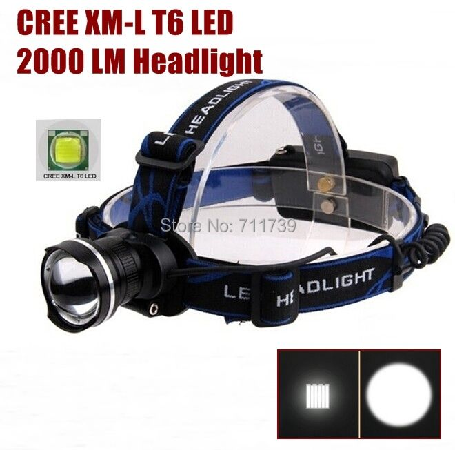 AloneFire HP87 cree led Head light Cree XM-L T6 LED 2000Lm cree led Headlamp Headlight for 1/2x 18650 rechargeable battery