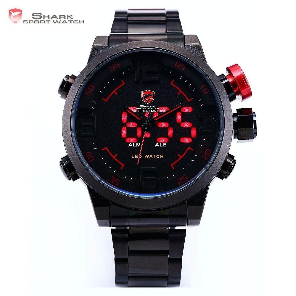 Gulper SHARK Sport Watch Digital LED Men Top Brand Luxury Black Red Calendar Steel Band Wrist Quartz Watches <font><b>Reloj</b></font> Hombre /SH105