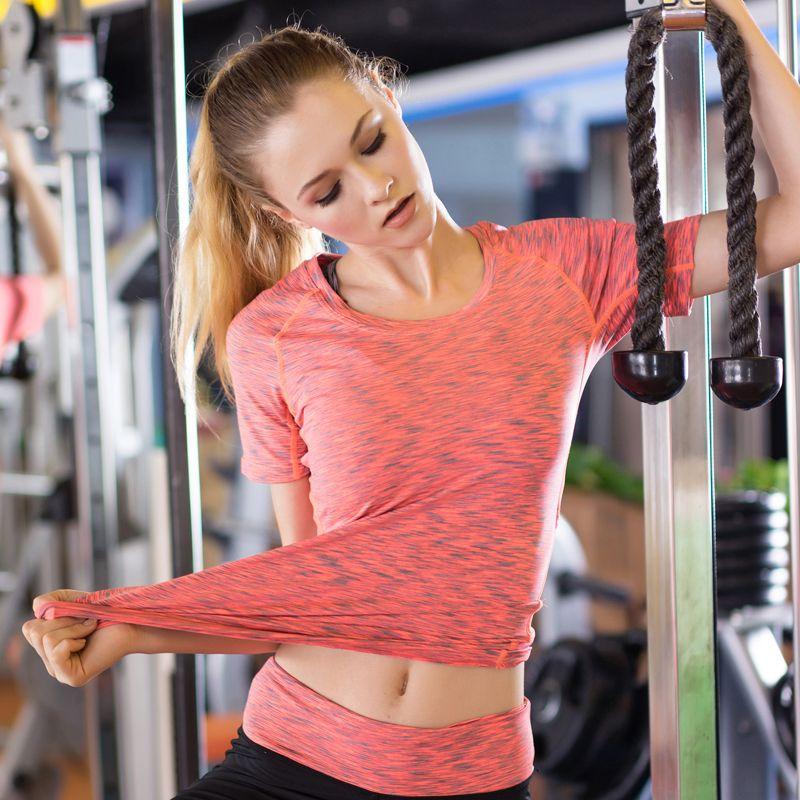 Femmes Fitness Yoga haut de sport femme collants t shirt à manches courtes Compression à séchage rapide course chemise vêtements livraison gratuite
