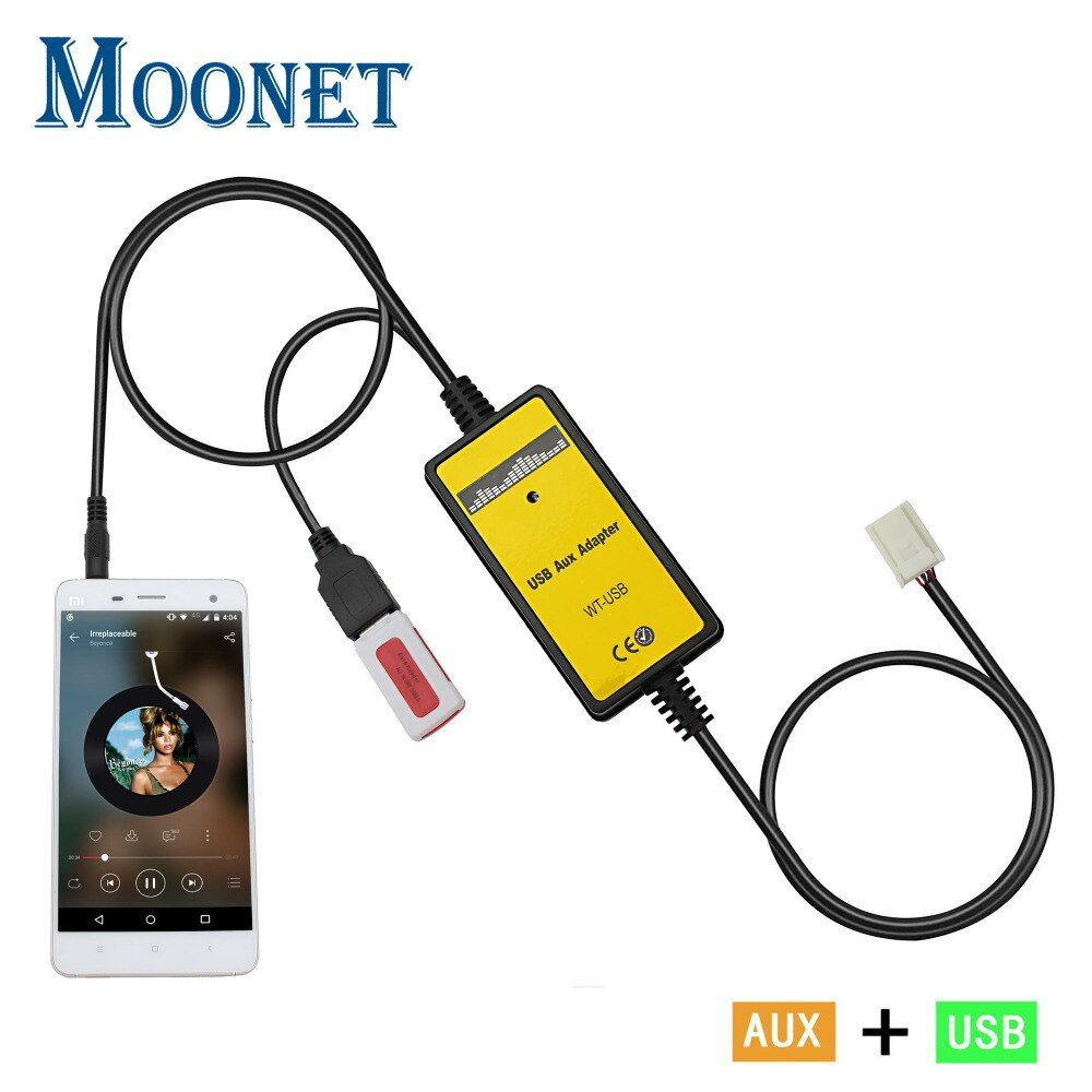 Moonet Car CD adapter mp3 3.5mm AUX TF SD USB For 12P Matrix Avensis RAV4 Tacoma Tundra Venza Vitz Yaris OEM adapter QX005