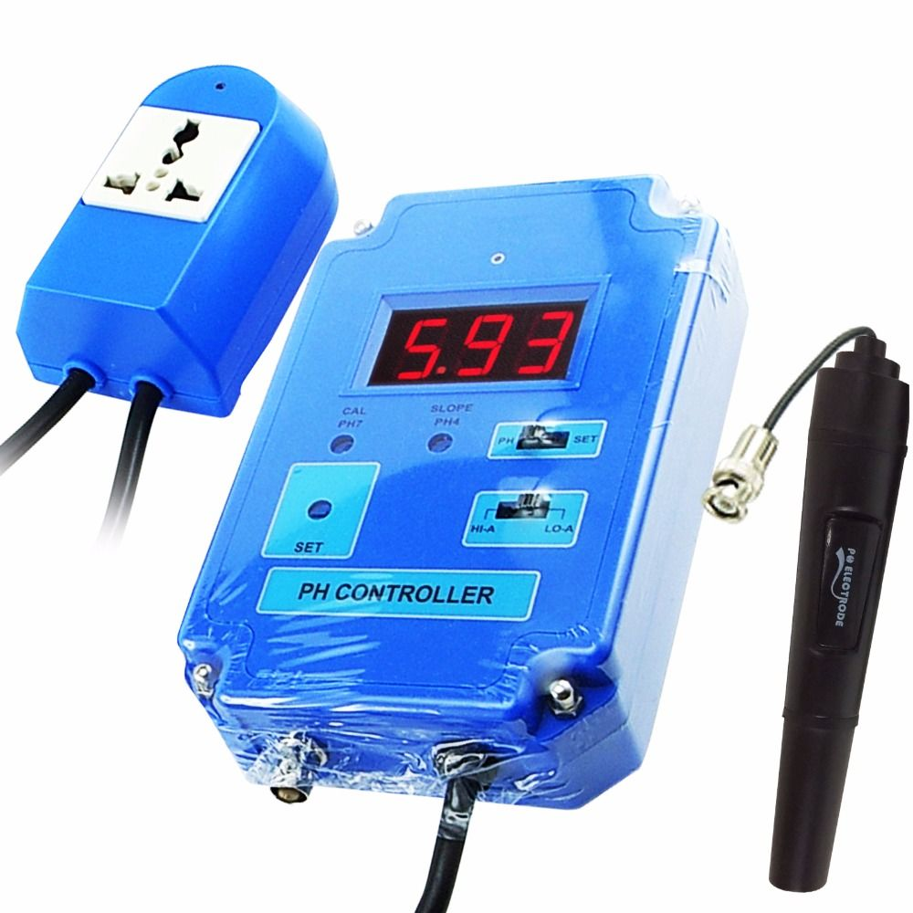 Digital pH Controller Meter Tester with Optional HI/LO Action 0.00~14.00pH Range Replaceable BNC Electrode CO2 Solution