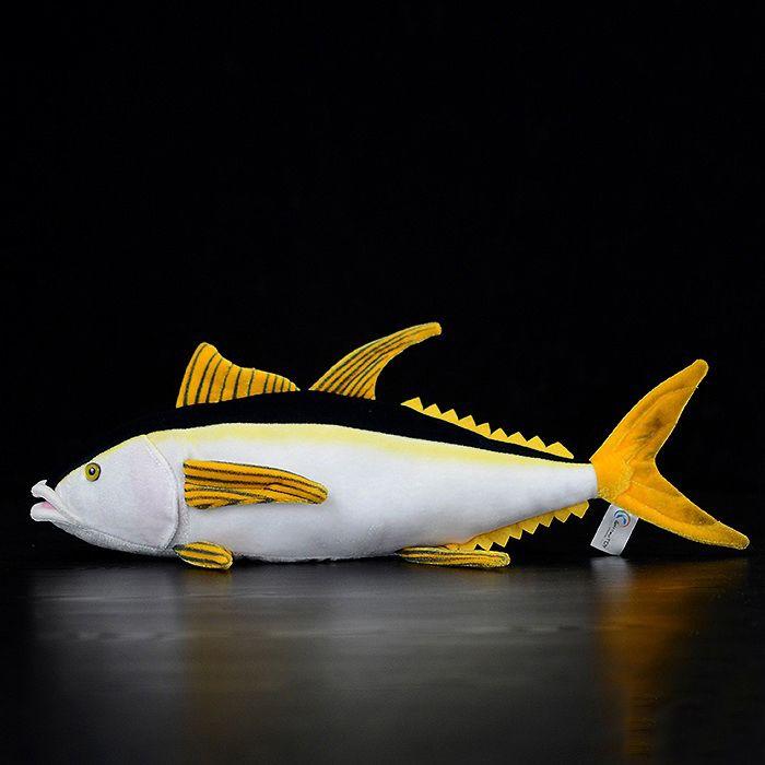 15.7 inch / 40cm Long Lifelike Yellowfin Tuna Stuffed Toys Sea Animals Plush Toy Huggable Tuna Plush Dolls For Kids Gifts