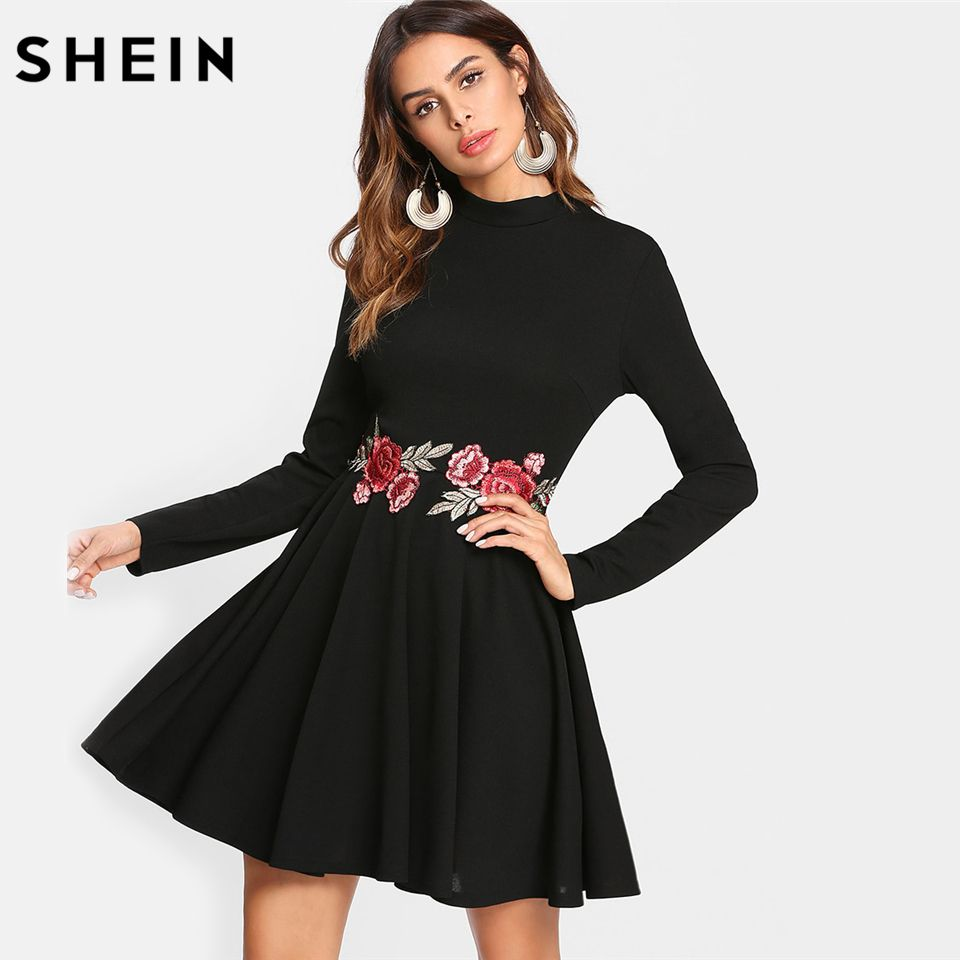 SHEIN Black A Line Women Dress Embroidered Rose Applique Skater Dress Long Sleeve Stand Collar Fit and Flare Elegant Dress