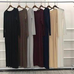 Элегантное мусульманское платье чистого цвета abaya арабское, турецкое длинное платье из Сингапура jilbaw Дубай мусульманские женские платья ис...