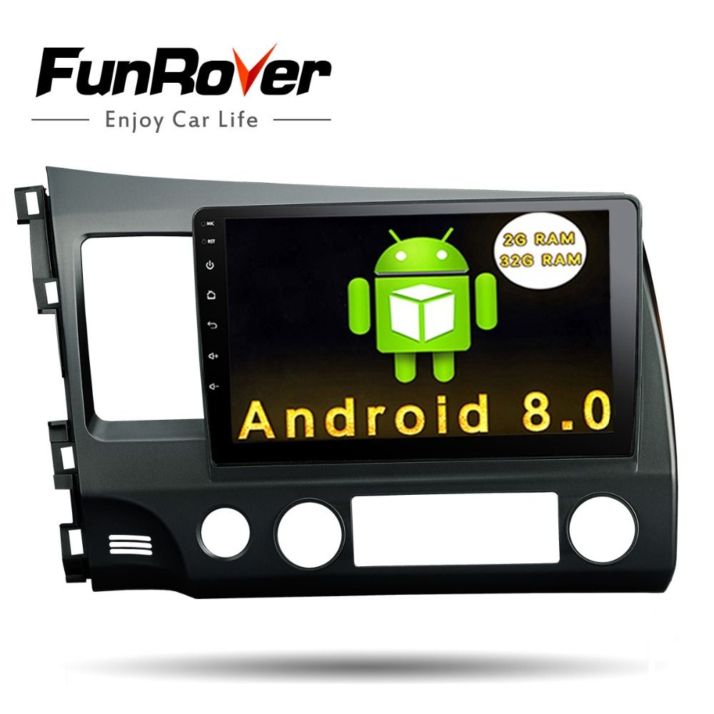 Funrover Android 8.0 2 din Car dvd Head Unit 10.1 inch for Honda Civic 2006-2011 GPS Radio tape recorder RDS BT wifi usb no dvd