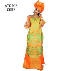 Vestidos africanos para las mujeres moda diseño del bordado del Bazin del nuevo diseño africano del vestido largo con PC de la bufanda dos LA078 #