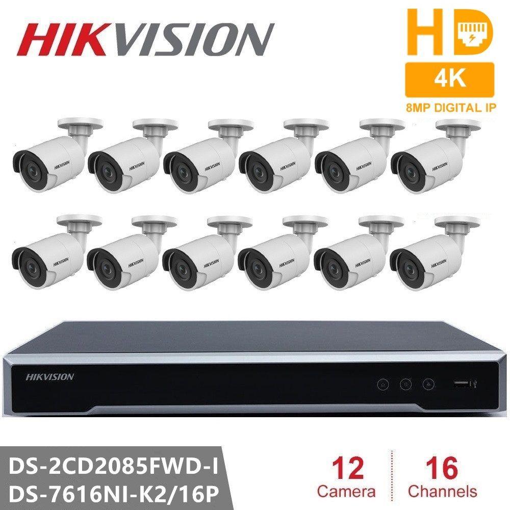 Hikvision Überwachung Kits 8MP Auflösung Netzwerk POE NVR Kit CCTV Sicherheit System 8MP Kugel Outdoor IP Kamera IR Nacht Vision