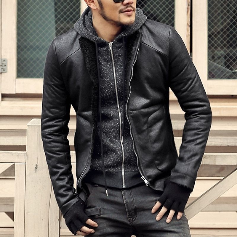 Fashion Black winter Mens short coat wool fur lining slim fit PU leather jackets men brand motorcycle leather jackets men coats