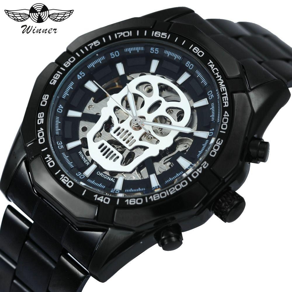 WINNER Steampunk Skull Auto Mechanical Watch Men Black Stainless Steel Strap Skeleton Dial Fashion Cool Design Wrist Watches