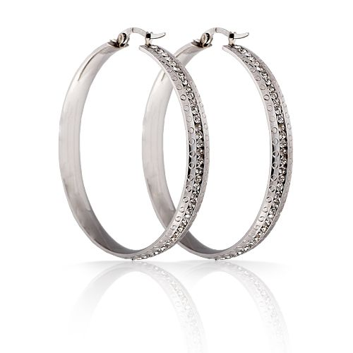 Free Shipping Fashion Jewelry Stainless Titanium Steel Little Circles Edged Hoop Embedded with Crystals Earrings