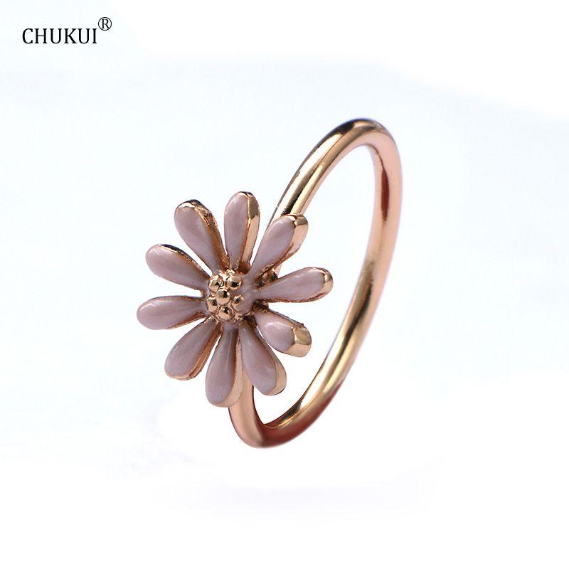 CHUKUI Zinc alliage rose Fleur fer bagues de Fiançailles pour les femmes Verre Forage Bijoux Accessoires