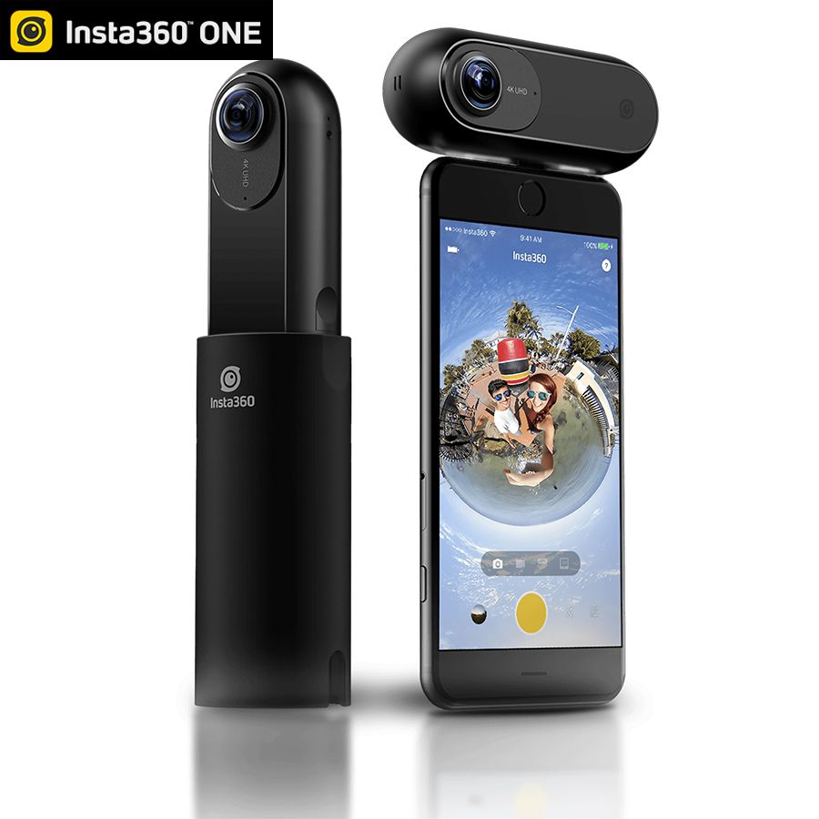 2017 Insta360 ONE 4K 360 Panoramic Camera VR Video Sport Action Camera 24MP Bullet Time 6-Axis Gyroscope Webcast for iPhone Cam