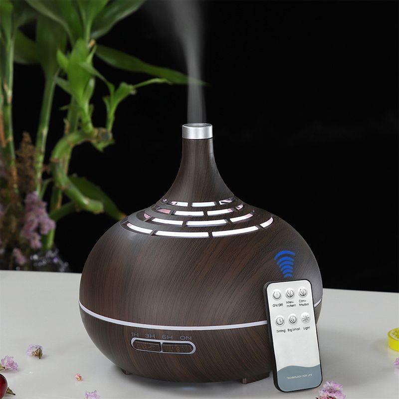 Diffuseur d'huile essentielle d'arome d'humidificateur d'air ultrasonique à télécommande de 400ml avec le Grain en bois 7 lumières changeantes de couleur pour le bureau