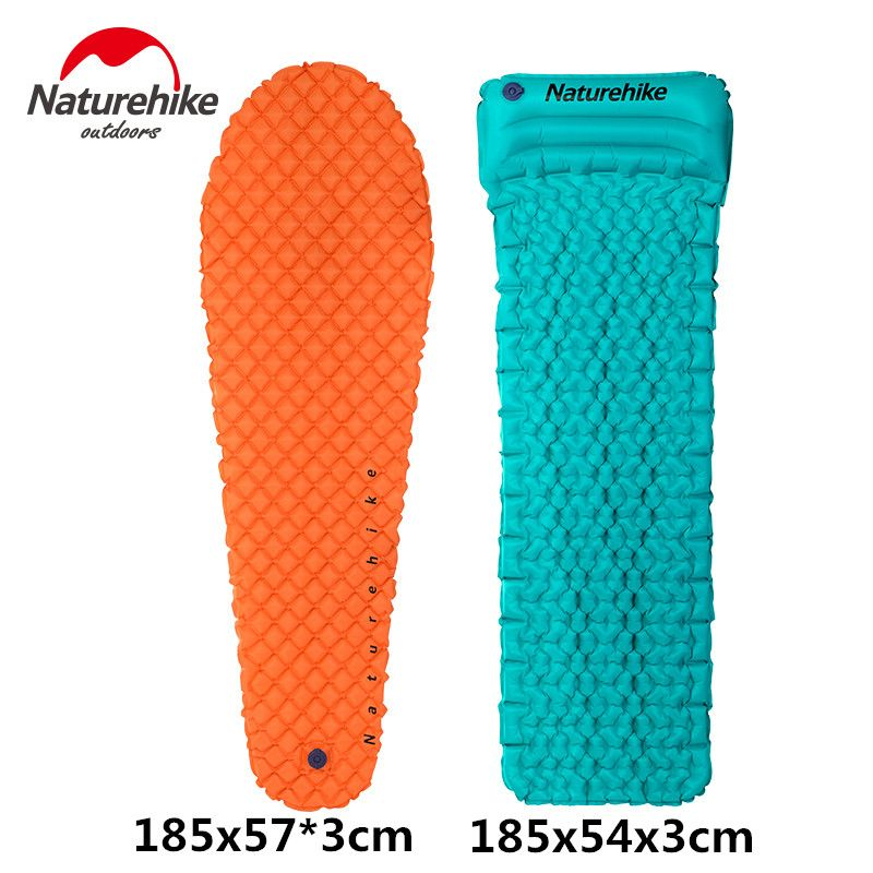 NatureHike <font><b>Inflating</b></font> Sleeping Pad Outdoor Hiking Camping Mat Lightweight Camp Air Mattress with Pillow