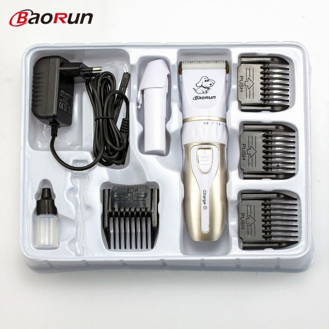 Baorun Low-Noise Rechargeable Pet Dog Cat Hair Trimmer Animal Grooming Clipper Cutter Machine Haircut Shaver Electric Scissor