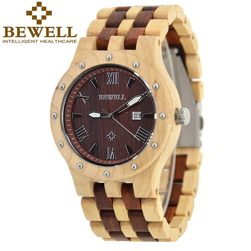 BEWELL Wood Watch Men Auto Date Men's Quartz Watch Top Brand Luxury Watches Men Clock with Paper Box saat relogio masculino 109A