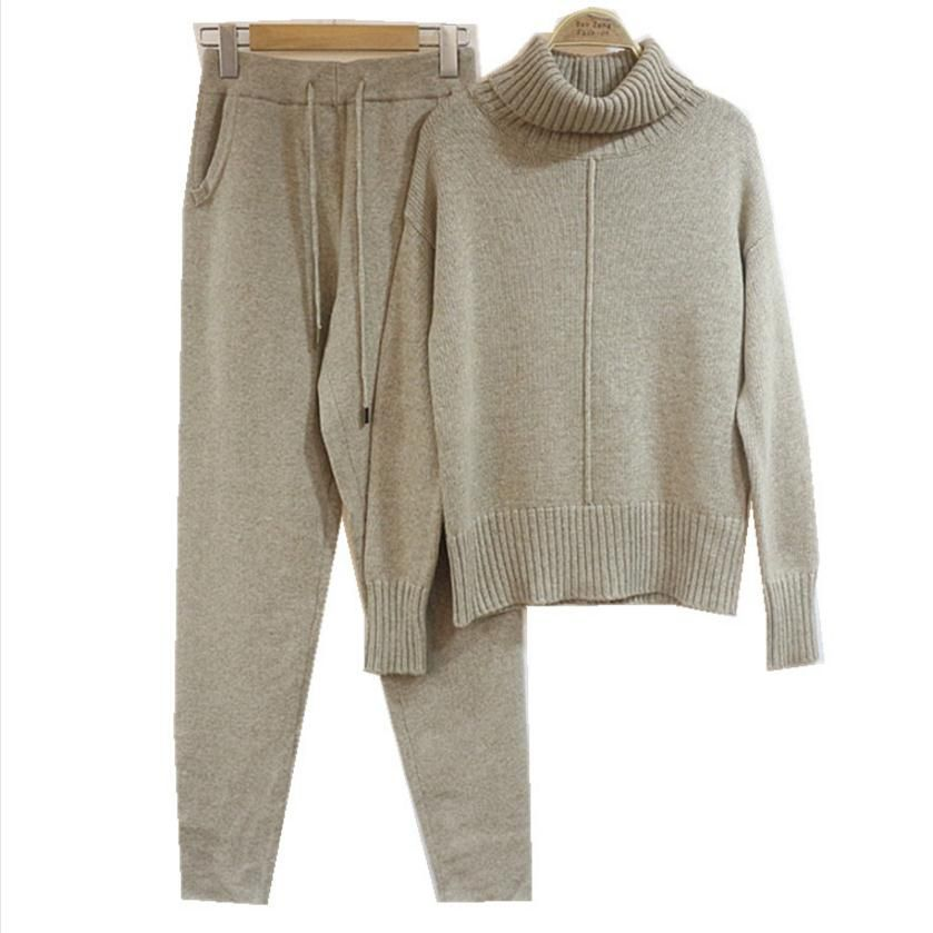 Winter Woolen and Cashmere Pattern Knitted warm Suit high Collar Sweater + Mink Cashmere Trousers Leisure Two-piece wj1276