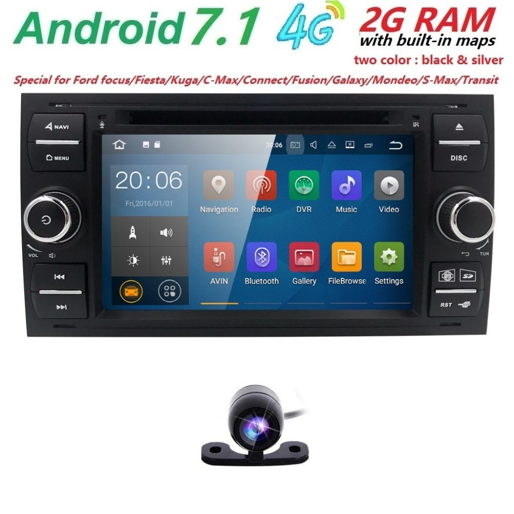 Car DVD Radio 2din Android 7.1 DAB+ In Dash For Ford Transit Focus Connect S-MAX Kuga Mondeo With QuadCore Wifi 4G GPS Bluetooth