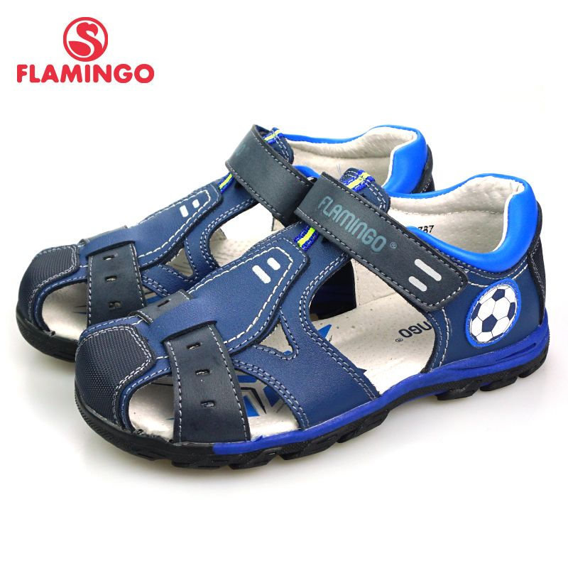 FLAMINGO 2018 New Football decoration Spring& Summer Hook& Loop Casual Sandals Leather Insole Outdoor Shoe for boy 81S-XY-0787