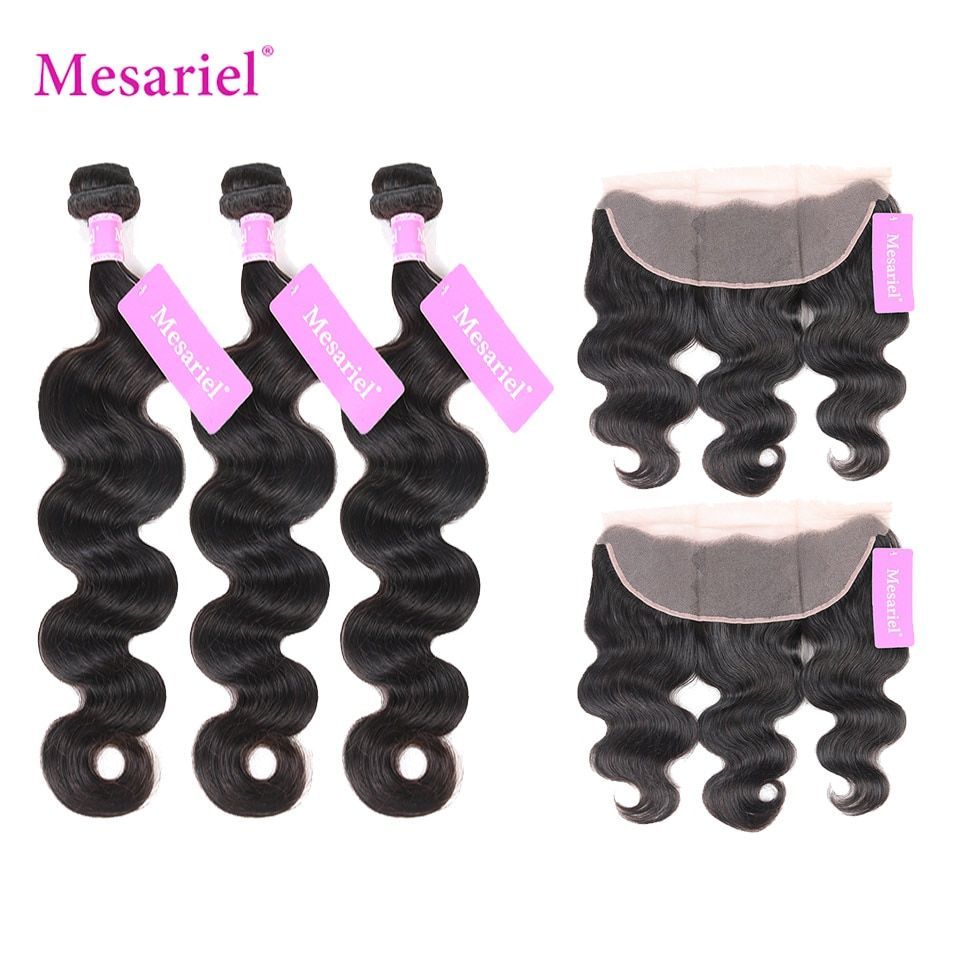 Mesariel Bundles With Lace Frontal Indian Body Wave Hair Weave Natural Color Non-Remy Hair3 Bundles With Free Part Lace Frontal