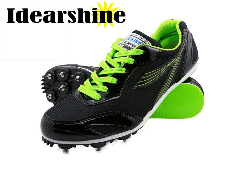 Men Unisex Running Tracking Spiking Shoes Mesh Lightweight Athletic Sport Training Shoes Black Yellow Green #6125