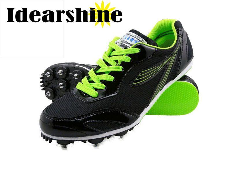 Men Unisex Running <font><b>Tracking</b></font> Spiking Shoes Mesh Lightweight Athletic Sport Training Shoes Black Yellow Green #6125