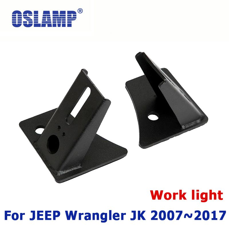 Oslamp LED Driving Work light Brackets Windshield A-pillar Offroad Mounting Holder Left & Right For Jeep Wrangler JK 2007~2017