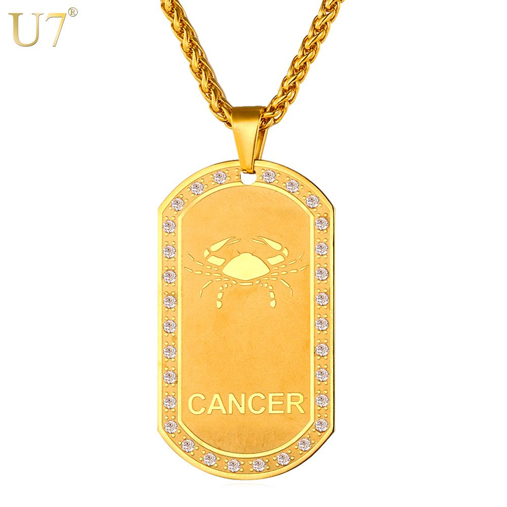 U7 Zodiac Signs Necklace For Men/Women Best Friend Dog Tags Birthday Gift Gold Color Stainless <font><b>Steel</b></font> Cancer Constellations P693
