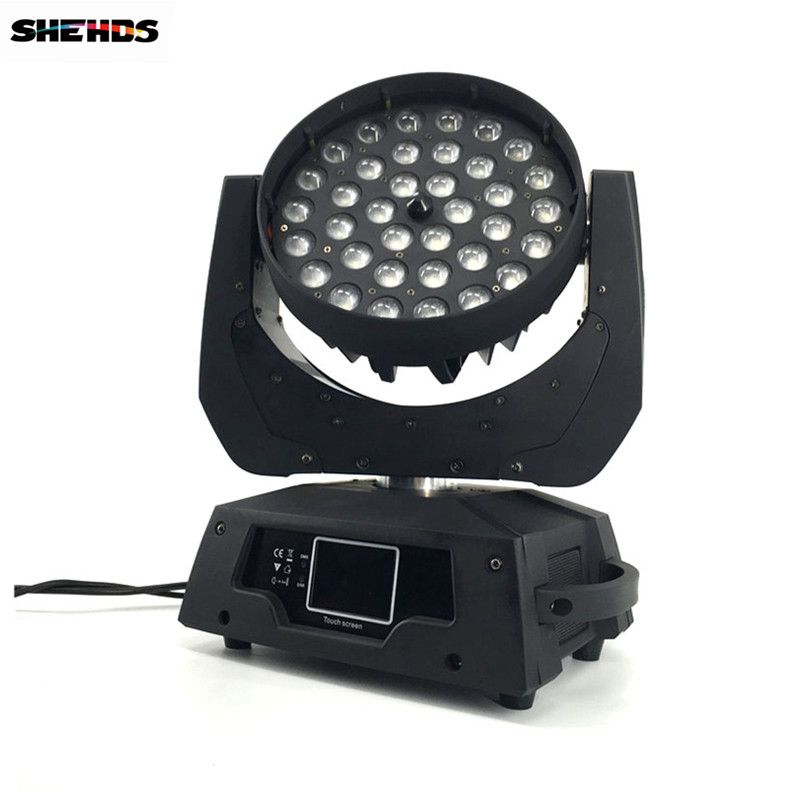 2 pcs/lot LED Zoom Wash 36x18W RGBWA+UV Color DMX Stage Touch Screen,LED Moving Head Wash Light Good for DJ