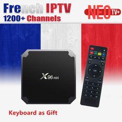 X96 Français IPTV X96 mini 4 k Android 7.1 TV Box avec 1300 + NEO tv IPTV QHDTV Français Arabe Belgique HDMI 2.0 x96mini Smart tv boîte