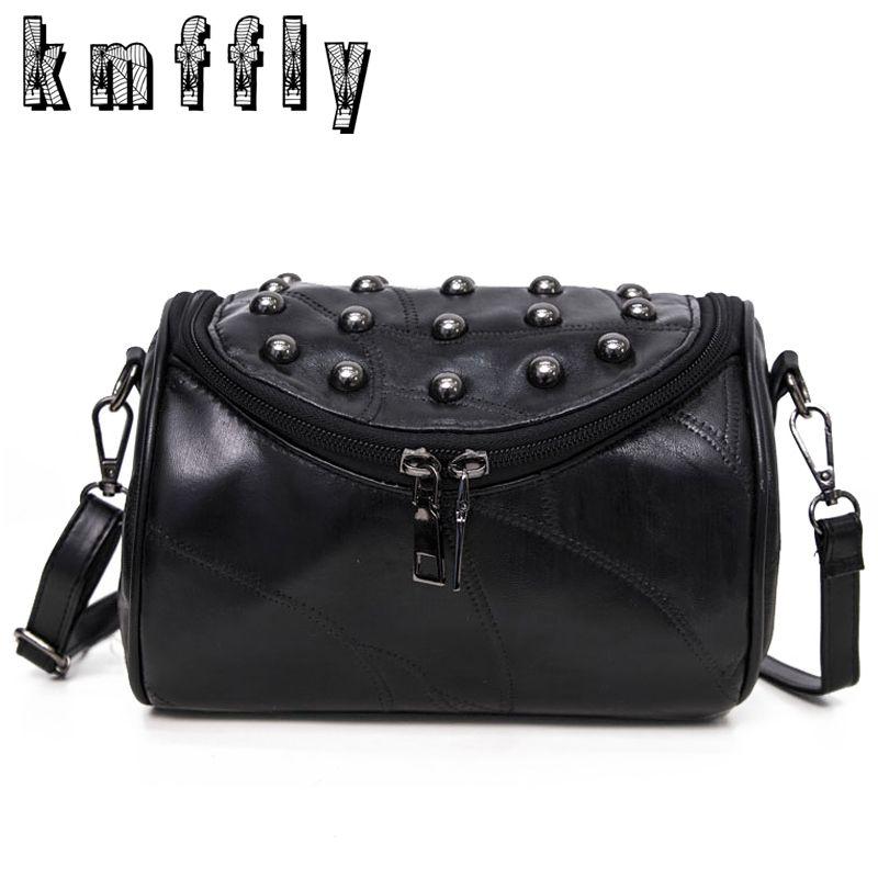 2017 Luxury Black Genuine Leather Famous and Women Messenger Bags Sheepskin Crossbody Bag Lock Rivet Shoulder <font><b>Clutch</b></font> Bag Bolas