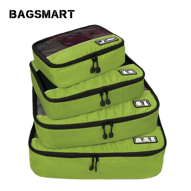 BAGSMART New Breathable Travel Bag 4 Set <font><b>Packing</b></font> Cubes Luggage <font><b>Packing</b></font> Organizers Weekend Bag Shoe Bag Fit 23 Carry on Suitcase