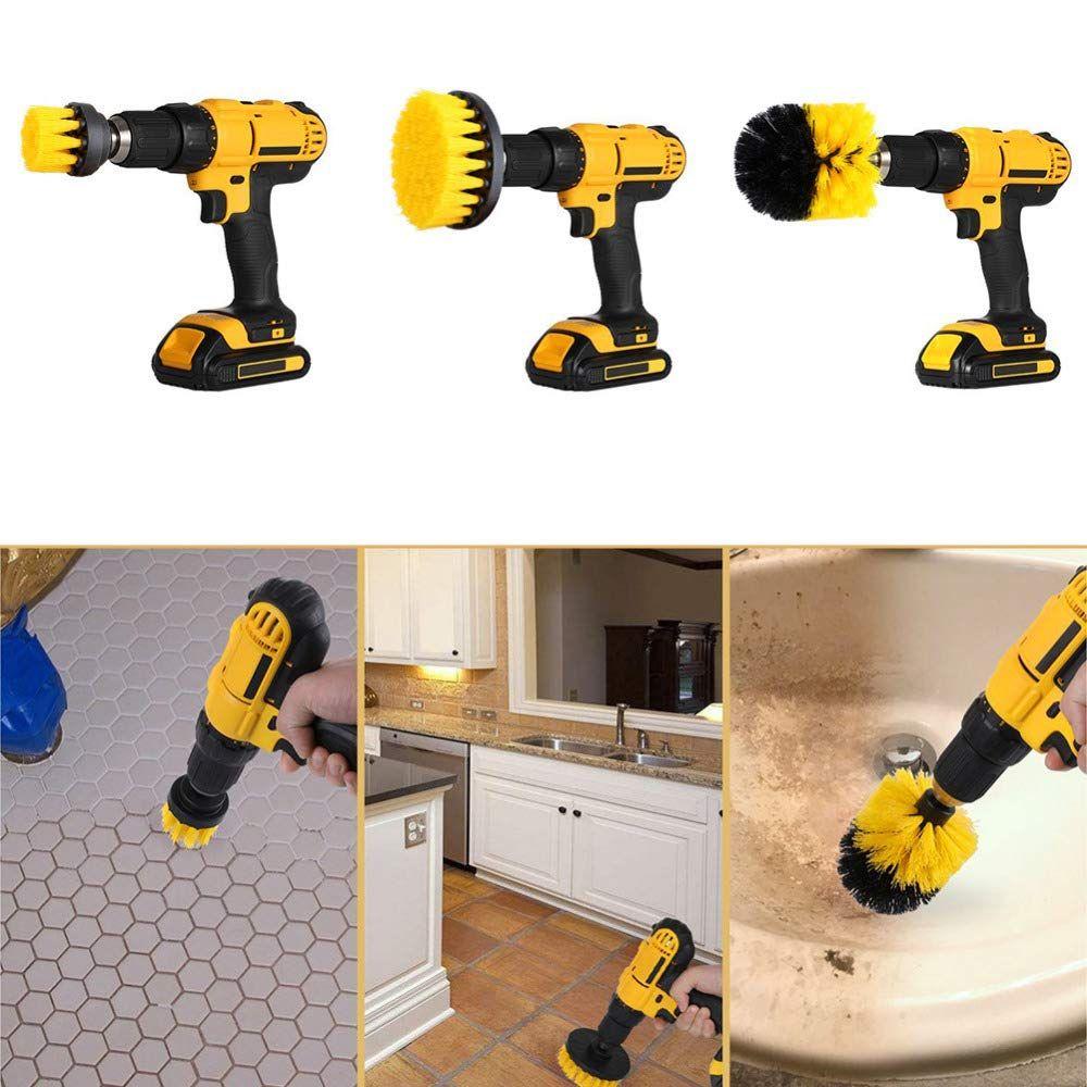 3 pièces/ensemble brosse de nettoyage Kit de forage électrique brosse de gommage électrique accessoire pour le nettoyage des pneus de voiture cuisine salle de bains tapis de tapis de siège