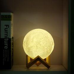 Leadleds recargable LED noche luz lámpara Luna 3D impresión Luna táctil 3 colores cambiar Touch para el hogar decoración regalo