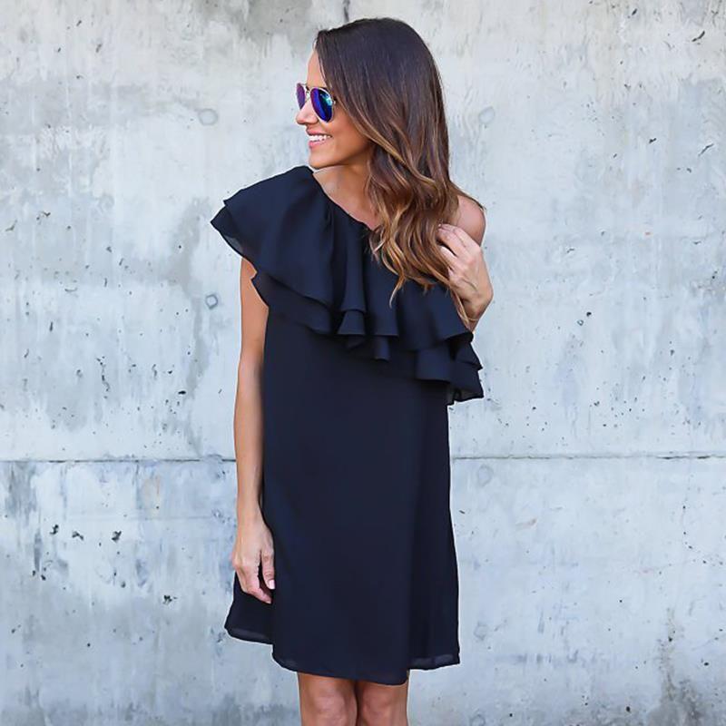 Summer Women Black Dress Sexy Off Shoulder <font><b>Elegant</b></font> Ruffles Party Mini Dresses Beach Dress Plus Size Women Clothing WS243X